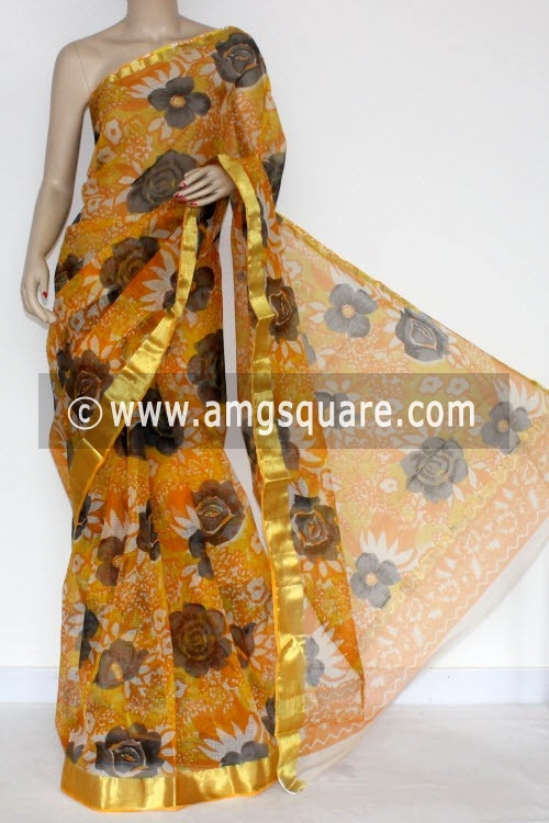 Yellow JP Kota Doria Printed Cotton Saree (without Blouse) Zari Border 13572