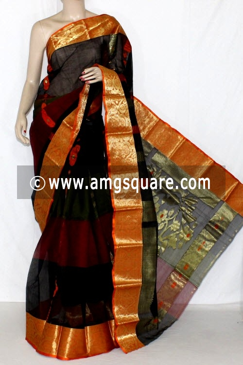 Black Orange Handwoven Bengal Tant Cotton Saree (Without Blouse) Zari Border 14116