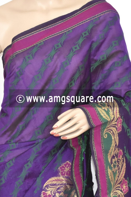 Navy Blue Handloom Banarasi Kora Saree (with Blouse) Allover Resham Weaving 16222