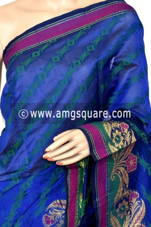 Royal Blue Handloom Banarasi Semi Cotton Saree (with Blouse) Allover Resham Weaving 16224