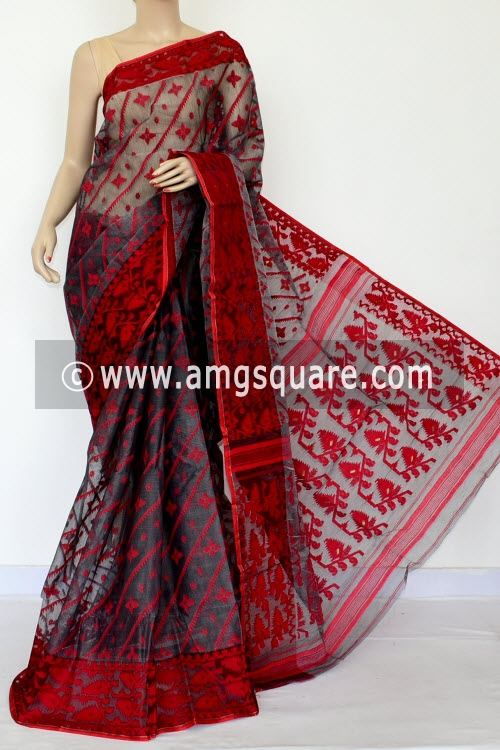 Grey Red Jamdani Handwoven Bengal Tant Cotton Saree (Without Blouse) 17018