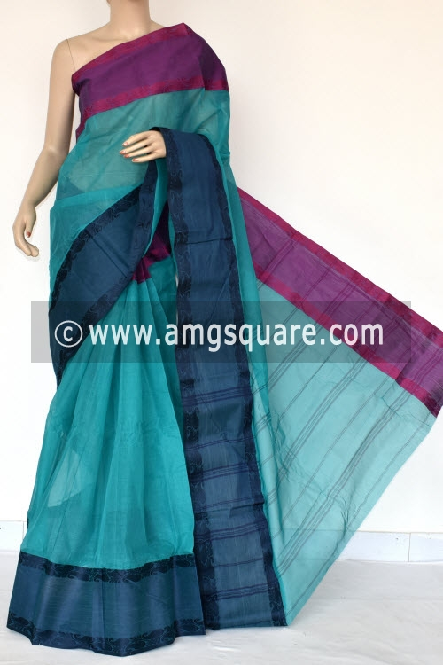 Sea Green Handwoven Bengal Tant Cotton Saree (Without Blouse) Ganga Yamuna Border 14281