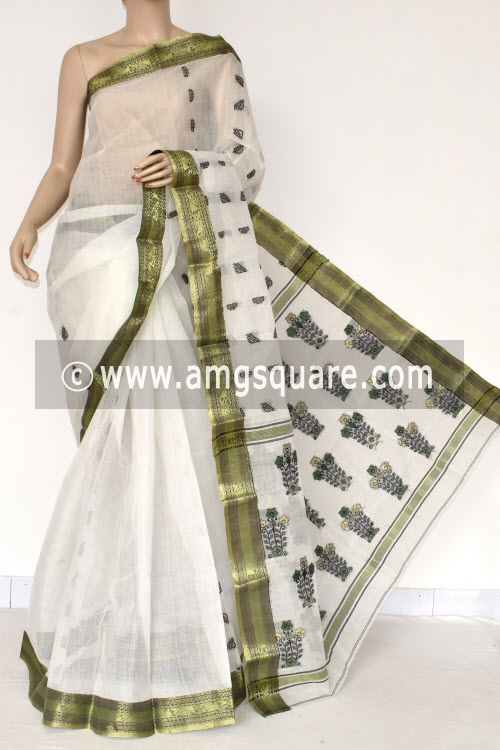 White Handwoven Bengal Tant Cotton Saree (Without Blouse) Zari Border 17389