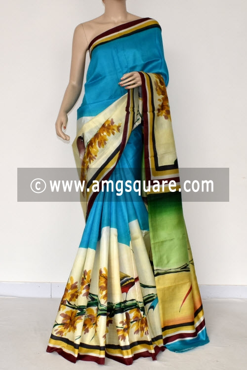 Pherozi Blue Hand-printed Pure Silk Saree (With Blouse) 17280