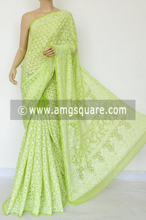 Menhdi Green Allover Hand Embroidered Lucknowi Chikankari Saree (With Blouse - Georgette) 14877