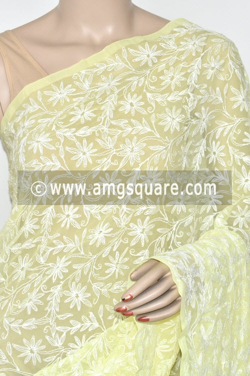 Lemon Yellow Hand Embroidered Allover Tepchi Work Lucknowi Chikankari Saree (Georgette) 14683
