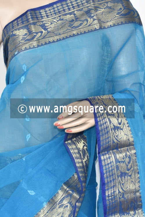 Pherozi Blue Golden Zari Border Handwoven Bengal Tant Cotton Saree (Without Blouse) 17370