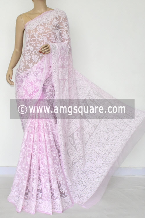Baby Pink Allover Hand Embroidered Lucknowi Chikankari Saree (Georgette) 14899