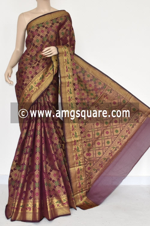 Maroon Handloom Banarasi Kora Saree (with Blouse) Allover Resham Weaving 16247