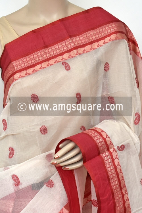 Off White Handwoven Bengal Tant Cotton Saree (Without Blouse) Allover Booti 17235