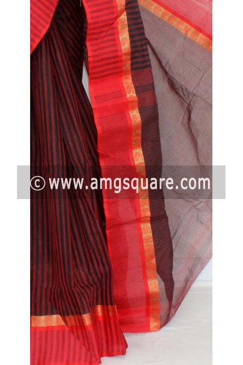 Red Black Handwoven Bengali Tant Cotton Saree (Without Blouse) 17061