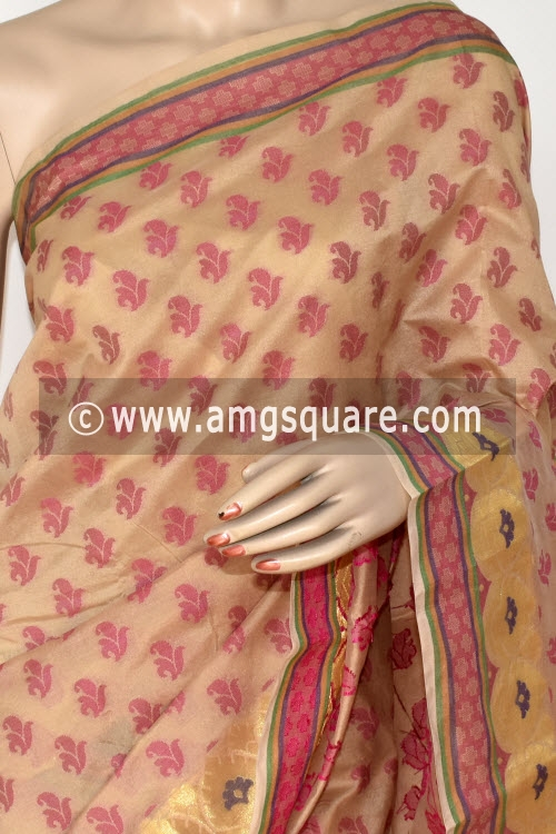Fawn Handloom Banarasi Semi Cotton Saree (with Blouse) Allover Resham Weaving 16214