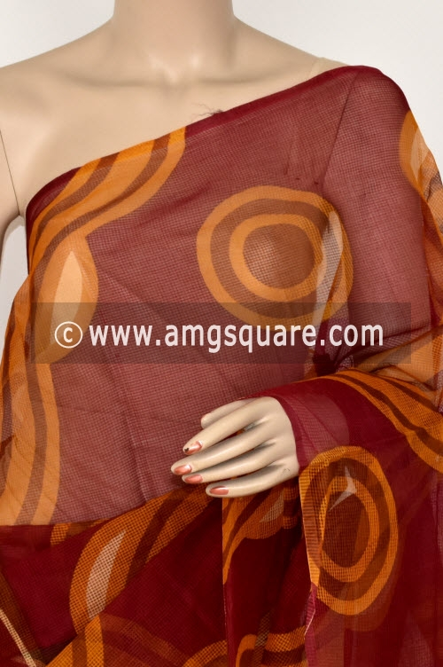 Maroon Premium JP Munga Kota Printed Cotton Saree (without Blouse) 15374