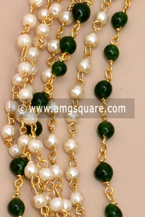 Green Bead Mala with Embedded Pearl and colored Moti (With Earrings) 12781