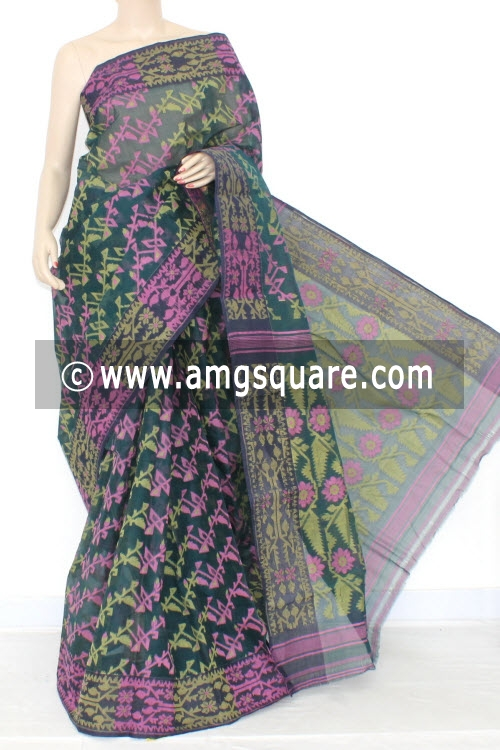 Bottle Green Jamdani Handwoven Bengal Tant Cotton Saree (Without Blouse) 13979