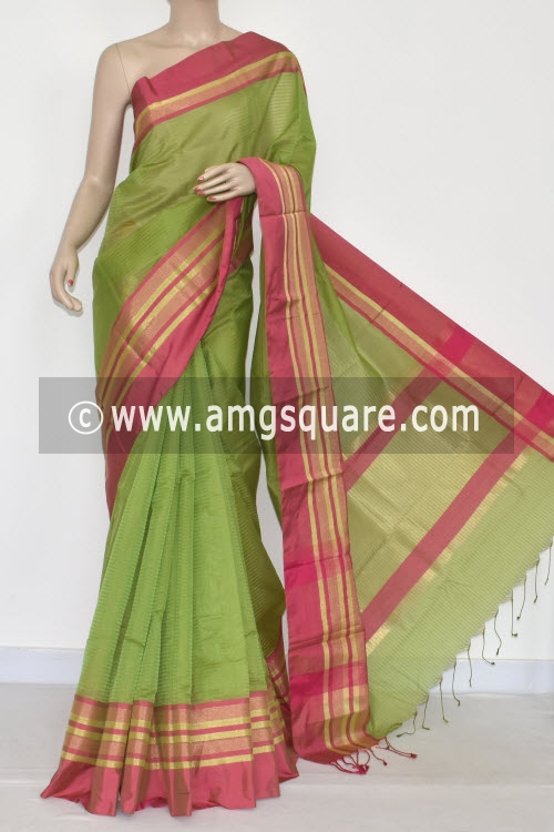Parrot Green Banarasi Cot-Silk Handloom Saree (With Running Blouse) 16136