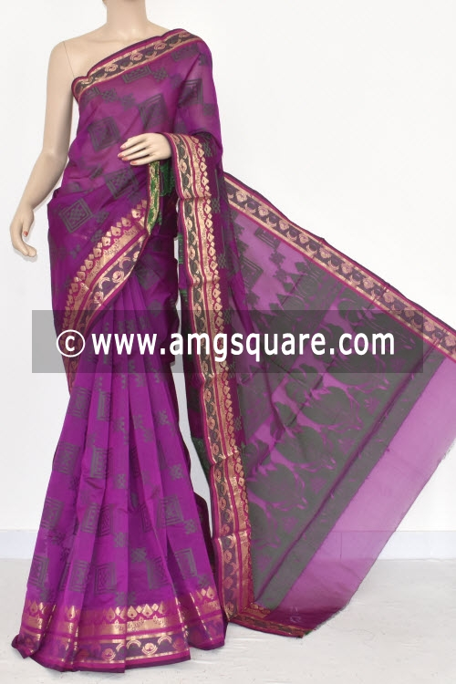 Magenta Handloom Banarasi Kora Saree (with Blouse) Allover Resham Weaving 16230