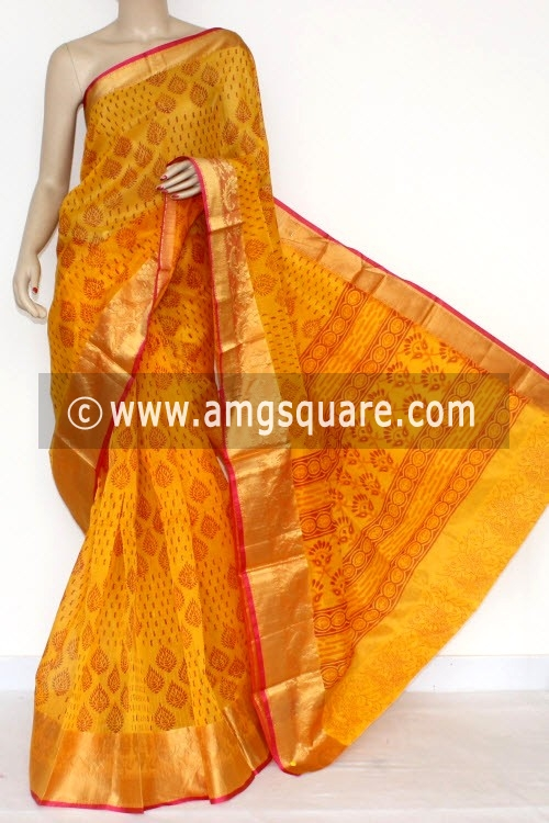 Yellow Banarasi Kora Cot-Silk Printed Handloom Saree (With Blouse) 16101