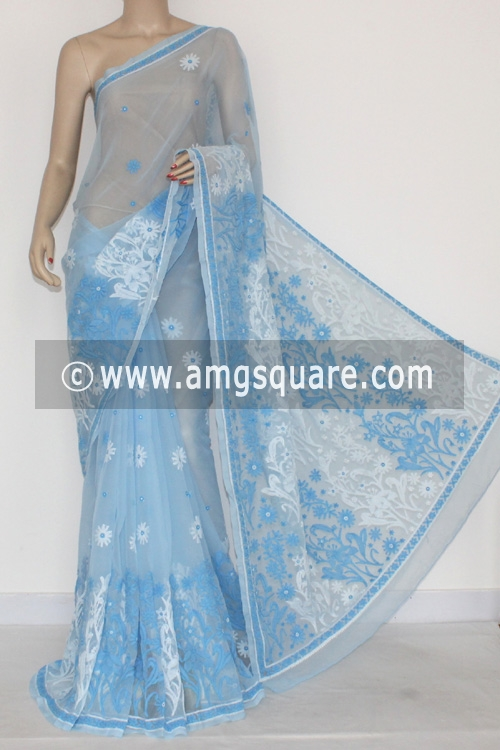 Sky Blue Hand Embroidered Lucknowi Chikankari Saree (With Blouse - Georgette) 14452