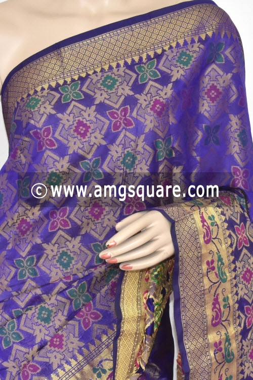Blue Handloom Banarasi Kora Saree (with Blouse) Allover Resham Weaving 16242