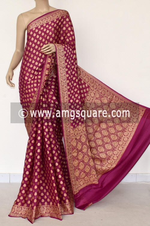 Move Banarasi Handloom Khaddi Georgette Saree (With Blouse) Allover Resham Weaving 16163