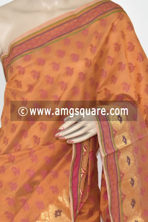 Mustared Handloom Banarasi Semi Cotton Saree (with Blouse) Allover Resham Weaving 16217