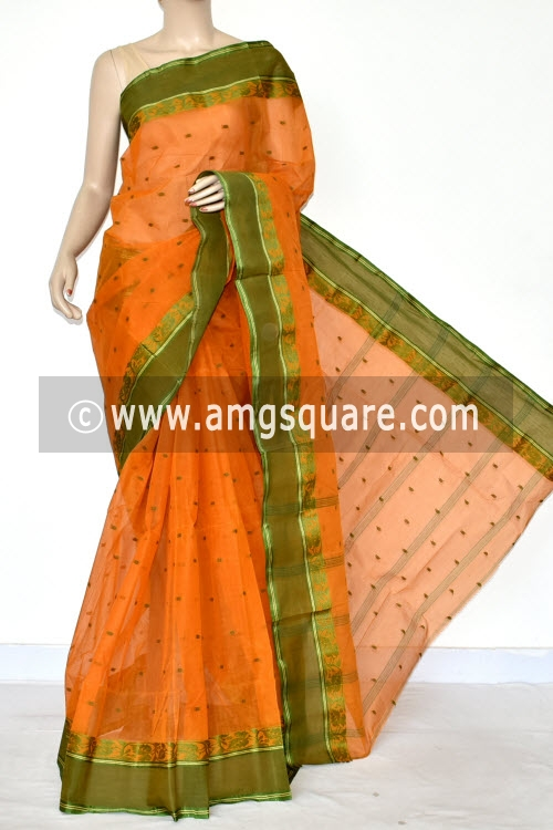 Light Orange Handwoven Bengal Tant Cotton Saree (Without Blouse) Allover Booti 17185