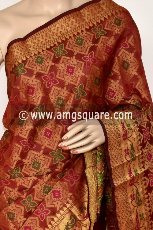 Maroon Handloom Banarasi Kora Saree (with Blouse) Allover Resham Weaving 16245