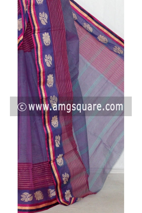 Greyish Purple Handwoven Bengal Tant Cotton Saree (Without Blouse) 14233
