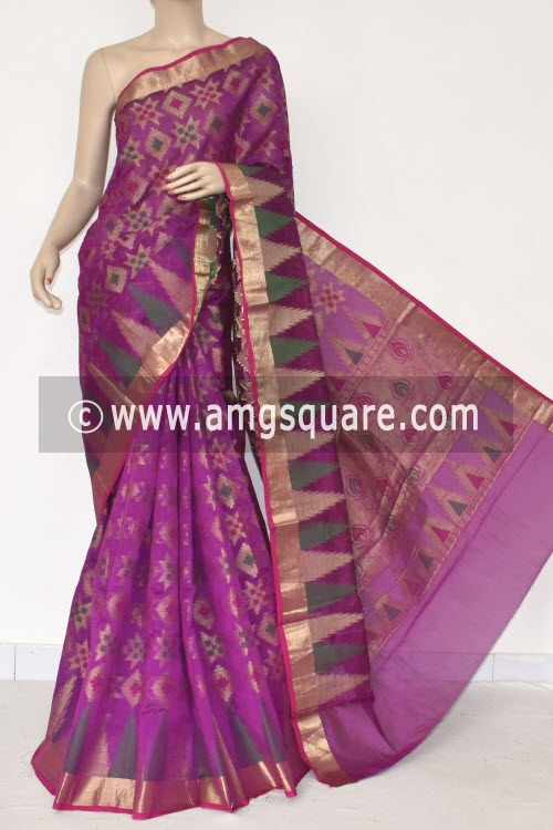 Magenta Handloom Banarasi Kora Saree (with Blouse) Allover Resham Weaving 16251