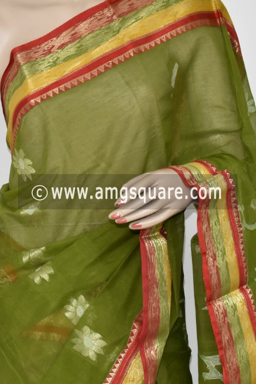 Menhdi Green Handwoven Bengal Tant Cotton Saree (Without Blouse) Zari Border 17374