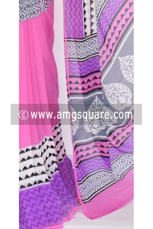Pink Printed Soft Mul-Mul Georgette Saree (With Blouse) 13439
