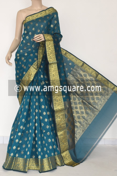 Sea Green Handloom Banarasi Kora Saree (with Blouse) Zari Border and Allover Booti 16254