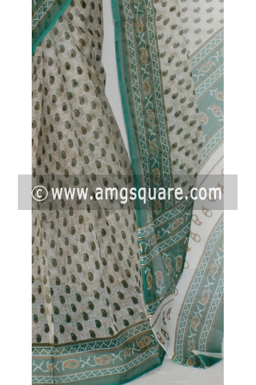 Sea Green JP Kota Doria Printed Cotton Saree (without Blouse) 15298