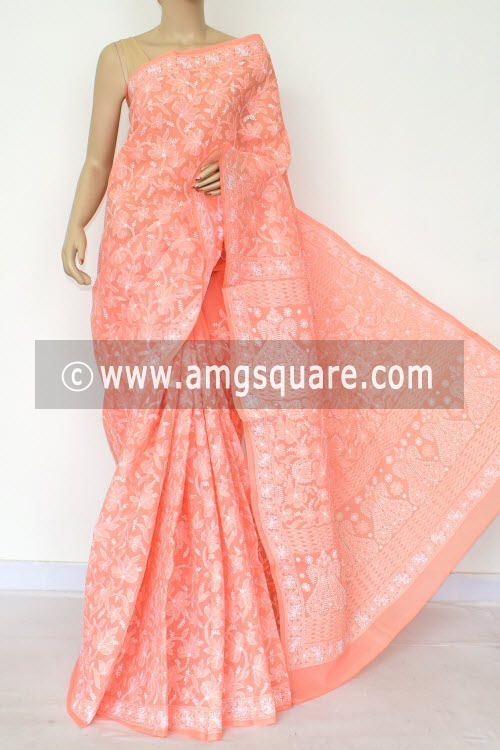 Light Orange Allover Hand Embroidered Lucknowi Chikankari Saree (With Blouse - Cotton) 14739