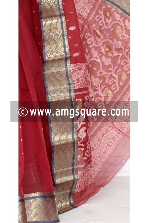 Maroon Handwoven Bengal Tant Cotton Saree (Without Blouse) Zari Border 14102