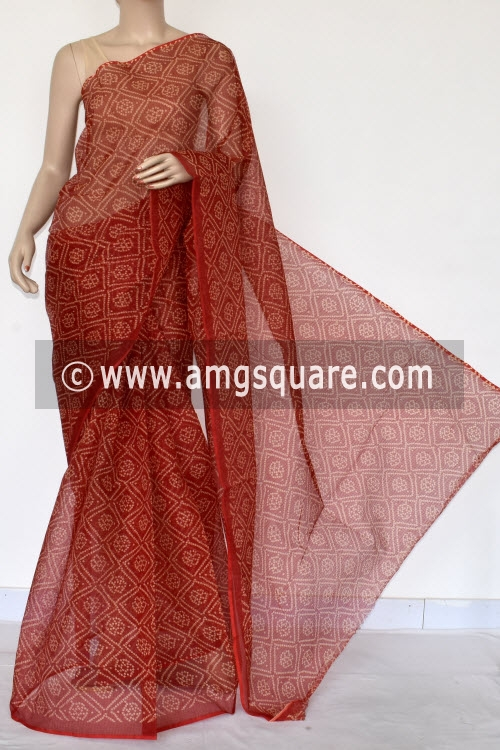 Red Chunri Print JP Kota Doria Cotton Saree (without Blouse) 13533