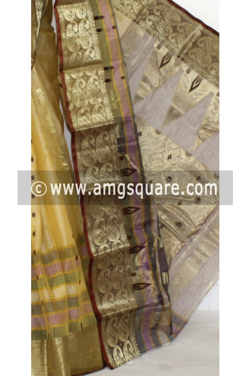 Fawn Chocolate Designer Tussar Silk Saree (Muslin Silk) 17286