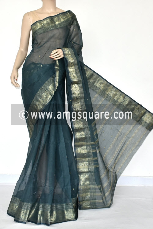 Bluish Grey Handwoven Bengal Tant Cotton Saree (Without Blouse) Zari Border 17427