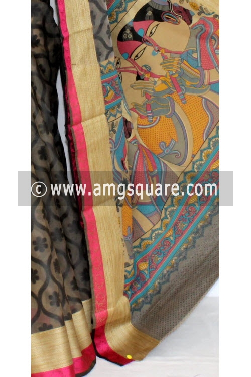 Black Fawn Banarasi Kora Cot-Silk Handloom Saree (With Blouse) 16109