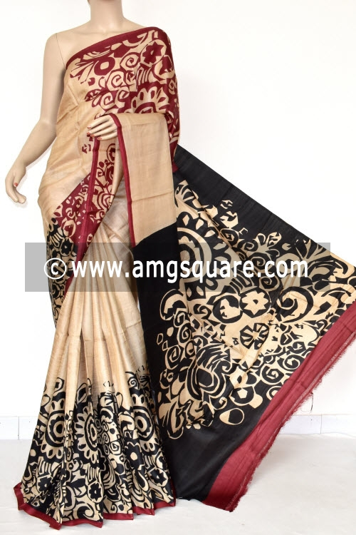Black Maroon Handprinted Pure Silk Handloom Saree (With Blouse) 13808
