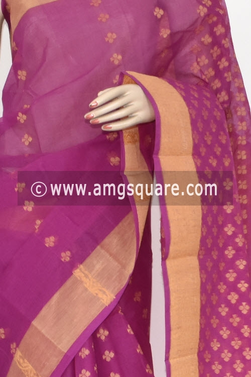 Magenta Handwoven Bengal Tant Cotton Saree (Without Blouse) 16985