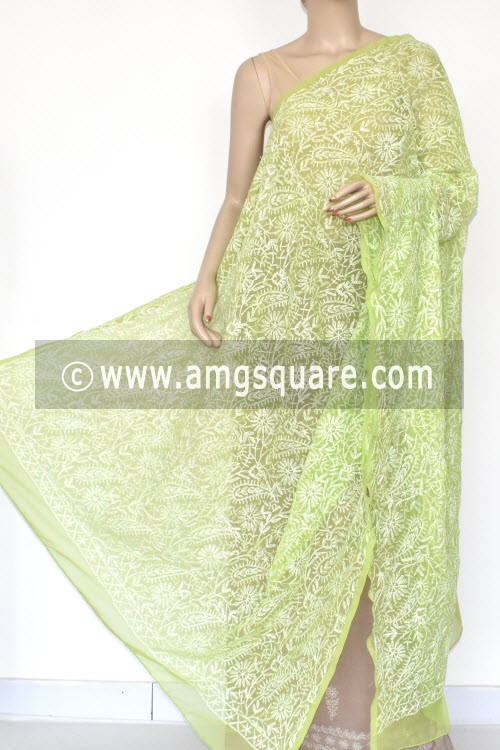 Menhdi Green Hand Embroidered Allover Tepchi Work Lucknowi Chikankari Dupatta (Georgette) 17949