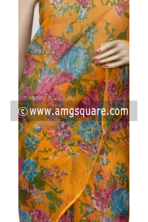Yellow JP Kota Doria Printed Cotton Saree (without Blouse) 15319