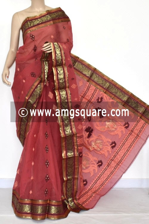 Rust Handwoven Bengal Tant Cotton Saree (Without Blouse) Zari Border 14114