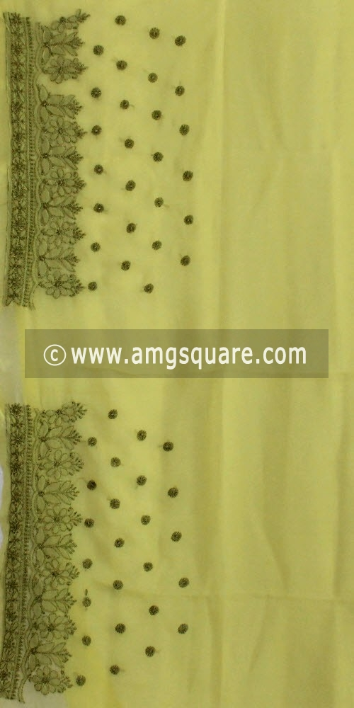 Menhdi Green Designer Hand Embroidered Lucknowi Chikankari Saree (With Blouse - Georgette) 14398