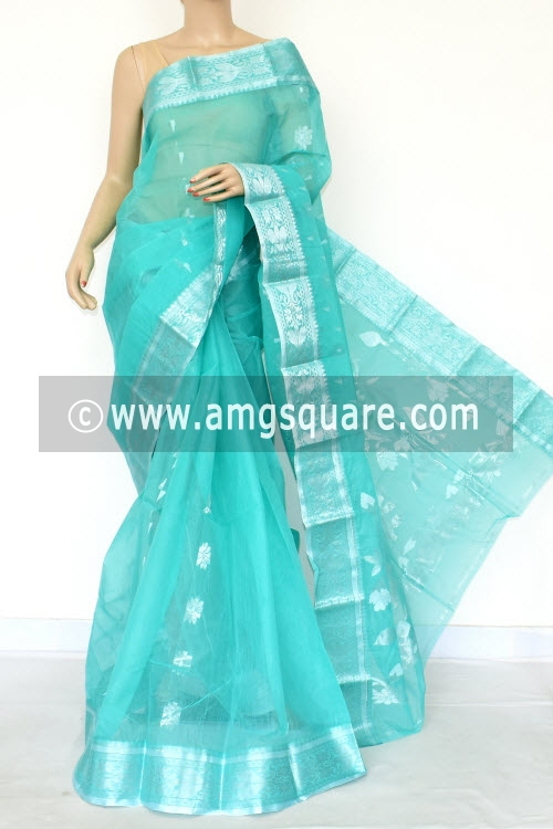 Sea Green Handwoven Bengal Tant Cotton Saree (Without Blouse) Zari Border 17004