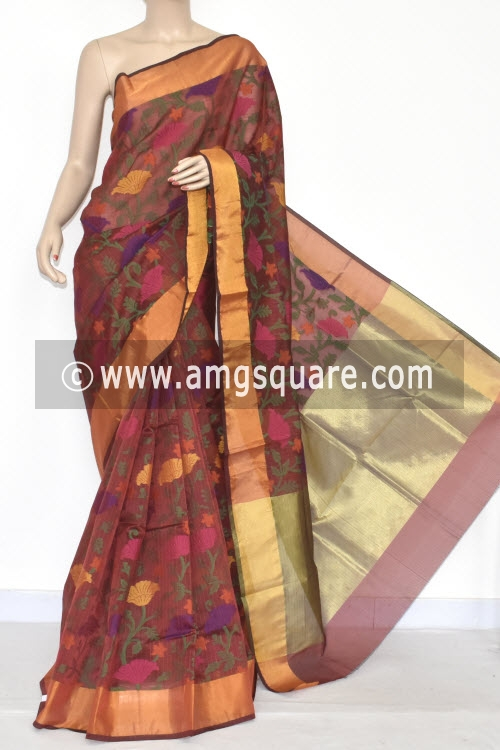 Red Banarasi Kora Cot-Silk Handloom Saree (With Blouse) Zari Border 16133