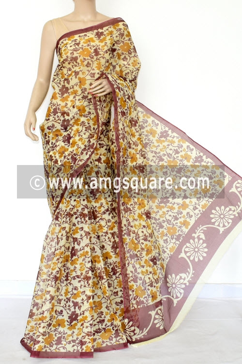 Brown Mustard Premium JP Kota Doria Floral Print Cotton Saree (without Blouse) 15439