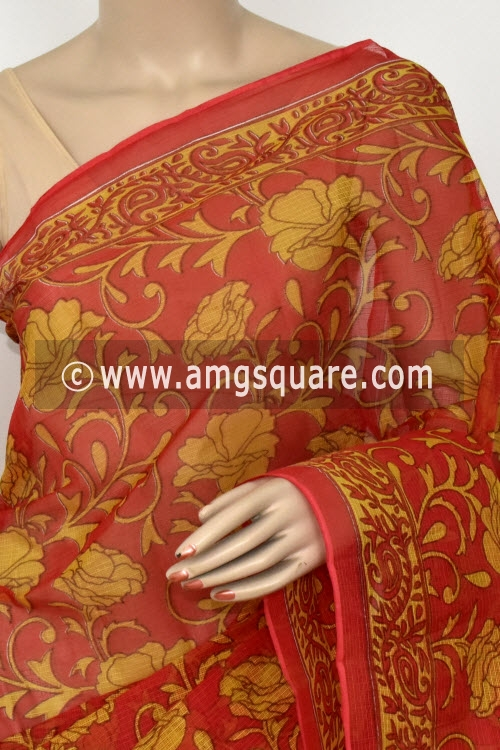 Red Mustared Yellow Premium JP Kota Doria Printed Cotton Saree (without Blouse) 15417